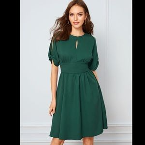 SHEIN Keyhole Front Split Sleeve Flare Dress Small
